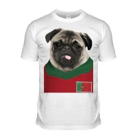 Portugal Pug Football  T-shirt (Adult Unisex)