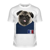 France Pug Football T-Shirt (Adult Unisex)