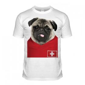 Switzerland Pug Football T-Shirt (Adult Unisex)