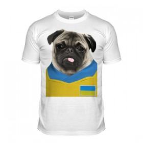Ukraine Pug Football T-Shirt (Adult Unisex)