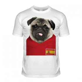 Spain Pug Football T-Shirt (Adult Unisex)