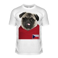 Czech Republic Pug Football T-Shirt (Adult Unisex)