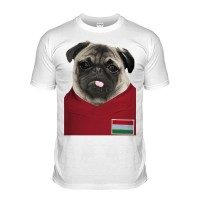 Hungary Pug Football T-Shirt (Adult Unisex)