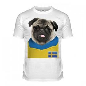 Sweden Pug Football T-Shirt (Adult Unisex)
