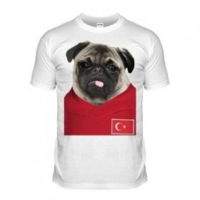 Turkey Pug Football T-Shirt (Adult Unisex)