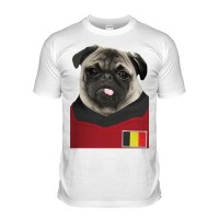 Belgium Pug Football T-Shirt (Adult Unisex)