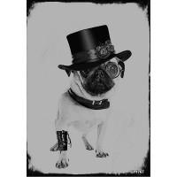 Black & White Blank Pug Card