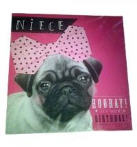 Pug Niece Birthday Card