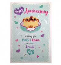 Pug Happy Anniversary card