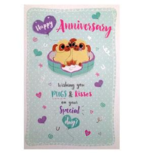 Pug Happy Anniversary card