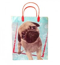 Large blue pug puppy gift bag