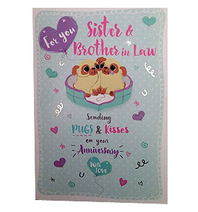 Pug Sister & Brother In Law Anniversary card