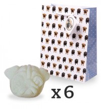 Pug wax melt set of six in pug  fragrance Pomegranate Noir by Jo Malone & gift bag