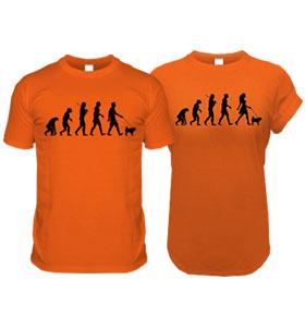 Orange Pug Evolution T-Shirts (Adults Man & Woman)