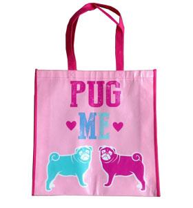 Large pink pug shopper bag