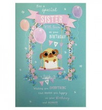 Large Pug Sister Birthday Card