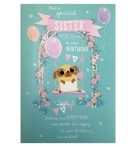 Large Pug Sister Birthday Card