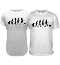 White Pug Evolution T-Shirt (Adult Man & Women's)