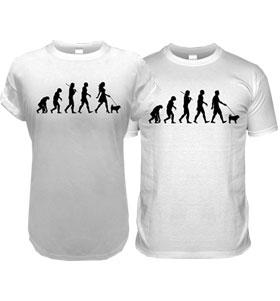 White Pug Evolution T-Shirt (Adult Man & Women's)