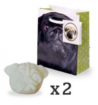 Two unique Pug Melt in Gorgeous Fragrance Pomegranate Noir by Jo Malone  with gift bag