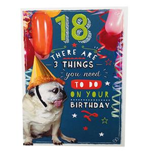 Pug 18th Birthday Party Card