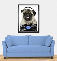Pug DJ Poster Print