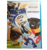 Make Some Noise Pug Birthday Card