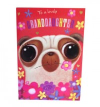 Pug Granddaughter Birthday Card