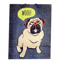 Large Pug Woof Gift Bag
