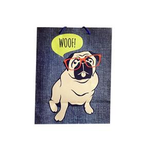 Medium Sized Pug Woof Gift Bag