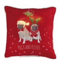 Christmas Mistletoe Pugs Light Up Filled Cushion