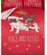 Pug Double  Size Christmas Duvet Set