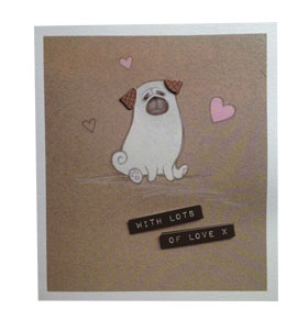 With Lot's Of Love Blank pug Card