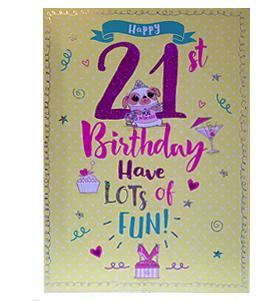Pug 21st Birthday Card