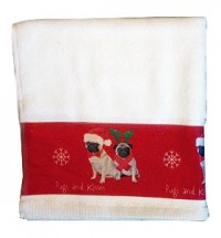 Pug Christmas Hand Towel