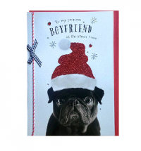 Black Pug Boyfriend Christmas Card