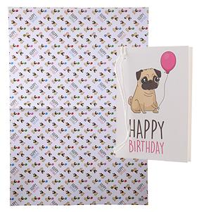 Pug Happy Birthday Gift Wrap Sheet & Gift Tag