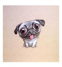 Happy Cartoon Pug Blank Card