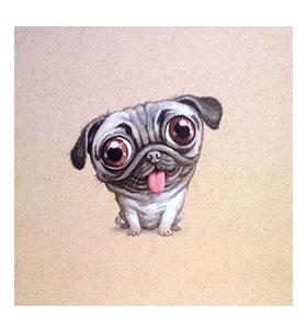 Happy Cartoon Pug Blank Card
