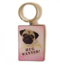 Pug Hug Wanted Key Ring