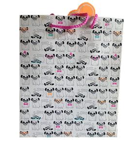 Pug Cartoon Print Large Gift Bag