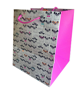 Pug Cartoon Print Small Gift Bag
