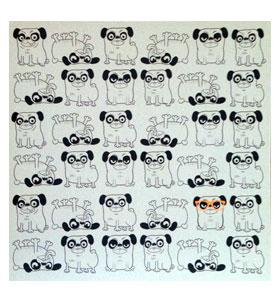 Cartoon Pug Blank Card