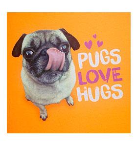 Pugs Love Hugs Blank Card
