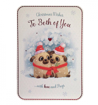 To The Both Of You Pug Large Christmas Card