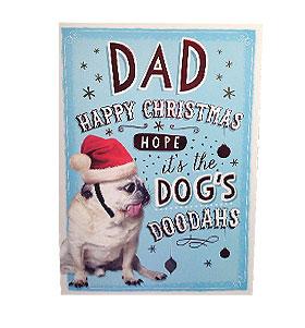 Large Pug Dad Christmas Card