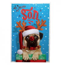 Pug Son Christmas Card
