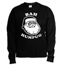 Bah Hum Pug  Black Christmas Unisex Sweater