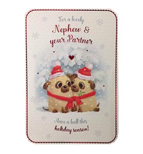 Nephew & Partner Pug Christmas Card