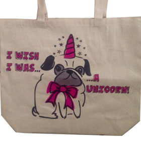Pug Unicorn Tote Bag
